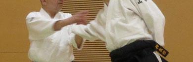 ⑤右足を軸として入り身転換 左足先は受けの後方真中に向かい杖巡り近似で右手は額から陰の陽で受けの手背に降りる