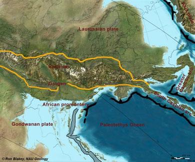 Das variskische Gebirge entstand im Oberkarbon bei der Kollision von Gondwana mit Laurussia.