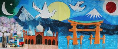 多摩市立南鶴牧小学校とパキスタンのElite Schoolの作品