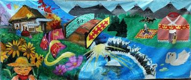 多摩市東愛宕中学校とキルギスのHumanitarian Lyeeumの作品