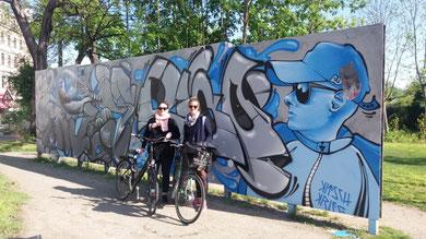 Radurlaub in Deutschland am Elberadweg mit Streetart in Dresden