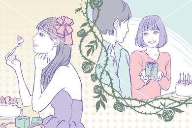 恋愛 コラム 挿絵 メディア 雑誌 ドレス マイナビウーマン 女性