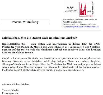 Pressemitteilung des Pressereferates der Diakonie Neuendettelsau vom 07.12.2010