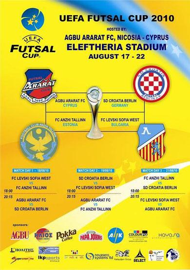 """Plakat zur Vorrundengruppe D mit """"SD Croatia Berlin"""" (Grafik: ABGU Ararat FC Nikosia)"""