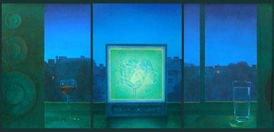Der Monitor, Öl auf Hartfaser,3x70 x 50cm 1990