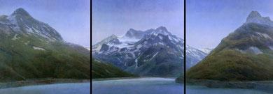 Gebirgsmassiv, (Mountain Range), Triptychon, 3 x 100x110cm, 1990