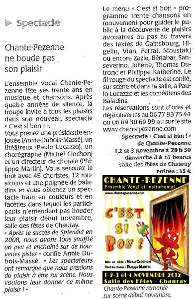 Courrier de l'Ouest - Vendredi 19.10.2012