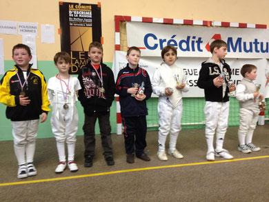 podium fleuret homme poussin aux Championnats de ligue de Basse-Normandie 2012