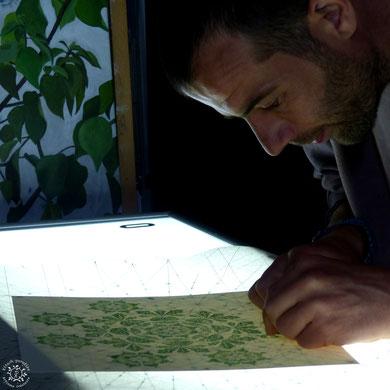 #chêne #gravure #linogravure #ancien #papier #kitsch #paradise #kp #peinture #artisan #créateur #artisanat #mandala #mantra