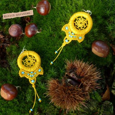 kp kitsch-paradise artisans créateurs attrape-rêve  macramé micromacramé dreamcatcher rêve cauchemar boucle d'oreille nature foret rocaille