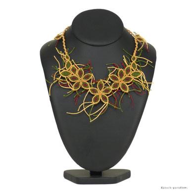 kp kitsch-paradise artisans créateurs création tissage macramé micromacramé couleur nature art collier foret nature naturelovers fleur flores flower