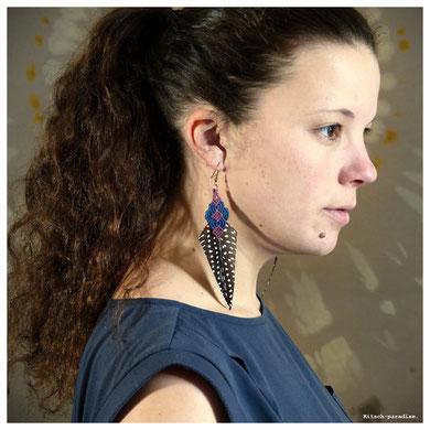 kp kitsch-paradise artisans créateurs boucle d'oreille macramé création tissage micromacramé couleur plume paon ile-et-vilaine cote darmor volaille plumasserie bretagne