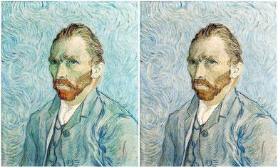 Compara el color de los dos lienzos