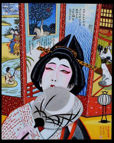 """Anja Mattenklott: """"Tamasaburo Bando V. -Kabuki-Tanz"""", 2017, 40 cm x 50 cm,  Gouache,  Pigmente,  Tusche,  Shellack auf Karton"""