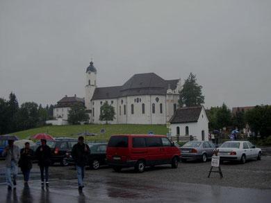 ...an der Wieskirche auf dem Weg nach Garmisch, Regen, Regen.....