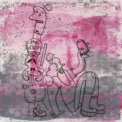 Skizze von Figuren mit Bauhelmen und einer Frau die ein Selfie macht, die ein Selfie macht, Illustration von Frank Schulz Art, Berlin, mit Tusche und Acryl
