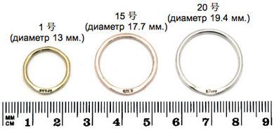 Пример размеров колец