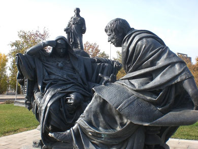 Nero und Seneca, Denkmal in Córdoba, von Eduardo Barón ( Bild: Hoshidodshi wiki)