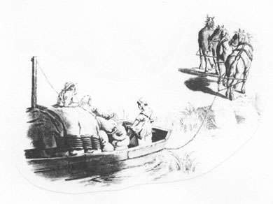 A horse-drawn barge