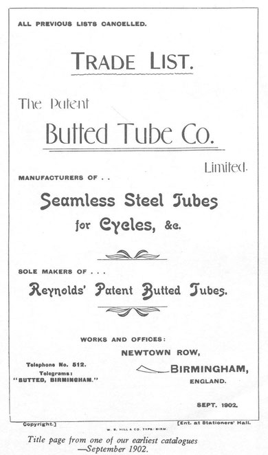 Title page from a catalogue of September 1902 (via K. Sprayson)