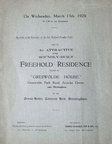 Greswolde House sale catalogue, 1929, front cover