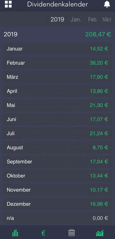 Screenshot aus der App DivTimer mit Übersicht über meine Dividendenzahlungen