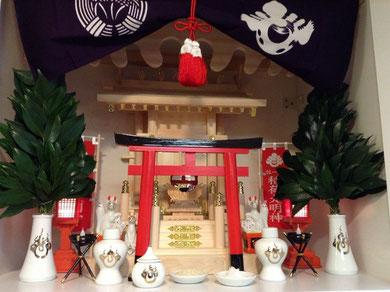 丸柱付き大神明+神棚板(白BOX)+お稲荷様専用の神具セット