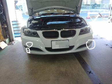 BMW フロントバンパー修理 0017