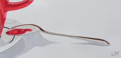 Dessin crayons de couleur gros plan tasse rouge se reflète dans cuillère