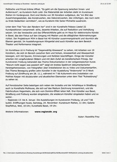 Jean-Claude Houlmann Regionale 13 Kunst Raum Riehen Badische Zeitung