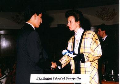 Osteopathie Abschluss Diplom von Prinzessin Anne