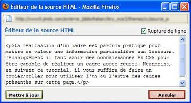 Boite d'édition de texte en HTML sous Jimdo