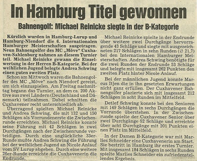 Artikel aus den Cuxhavener Nachrichten vom Juli 1991