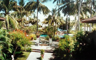 Blick aus der Lobby des Hotels Holiday Inn auf Lombok