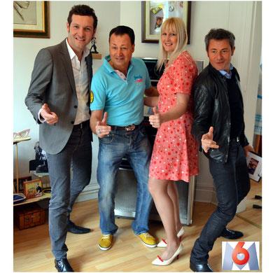"""Emmanuel Layan, Ted Sanders, Kéty Lucy et Jérome Anthony dans l'émission """" un trésor dans votre maison"""" sur M6"""