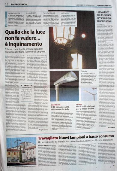 Giornale di Brescia 25 gennaio 2012, a Lumezzane il sesto sensore della rete Bresciana per rilevare l'eccesso di luce verso il cielo stellato.