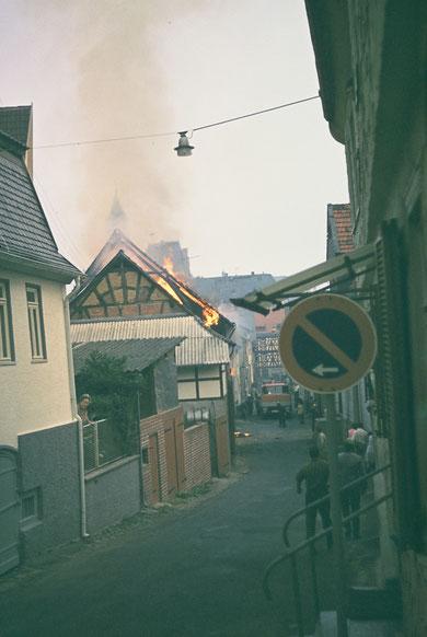 Brand Scheune Pfeiffer in der Felix-Lahnstein-Str. 1971