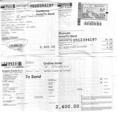 Receipt for funds sent via Western Union for continuing project support