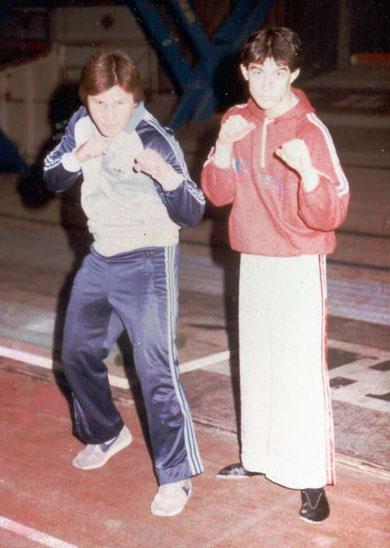 """Roberto nel 1984 con Benny """"The Jet"""" Urquidez allo stage di Milano"""