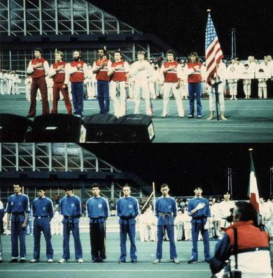 Roberto con la Naz. Italiana coach Lino Lacassia nella sfida Italia vs USA coach il mitico Joe Lewis - Palavela Torino 1985