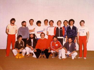 Bruno con Ennio Falsoni e Lino Lacassia al Corso Nazionale Istruttori e Arbitri a Caluso (TO) nel 1981