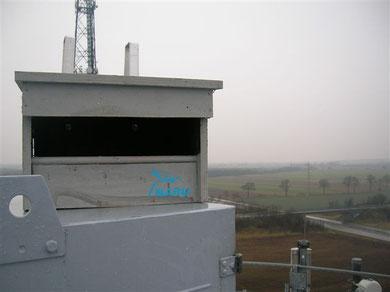 Turmfalkenkasten auf den Silos der Holcim AG an der Alten Rendsburger Straße - dieser Kasten wurde gleich von einem Turmfalkenpärchen angenommen!