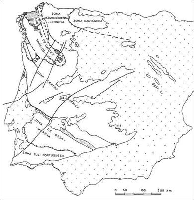 Zonas paleogeográficas e tectónicas do Maciço Ibérico, segundo o Mapa Tectónico da Península Ibérica, modificado. ( Julivert et al. 1974)