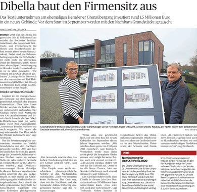 Dibella baut den Firmensitz aus, erschienen am 31.01.2020 im Bocholter-Borkener Volksblatt