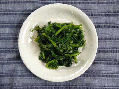 小松菜の花、しょうゆ漬け