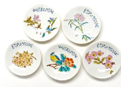 九谷焼通販 おしゃれな皿揃え 小皿 草花絵変わり 3寸花弁型 裏絵