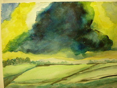 Annelore Haasmann: Gewitter über den Felder - nach einer Vorlage des Malers DAX
