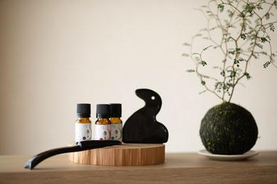 京都市中京区のエステサロンArrive(アライブ)で使用する漢方アロマオイルと苔玉