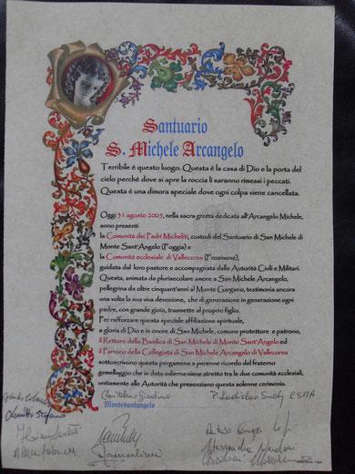 Le firme dell'avvenuto Gemellaggio