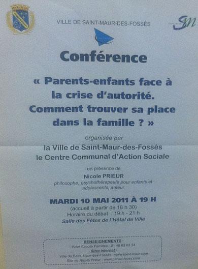 Conférence : Parents-enfants face à la crise d'autorité. Comment trouver sa place dans la famille ?